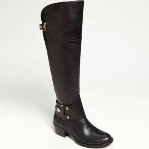VINCE CAMUTO BROOKLEE BLACK LEATHER RIDING BOOTS